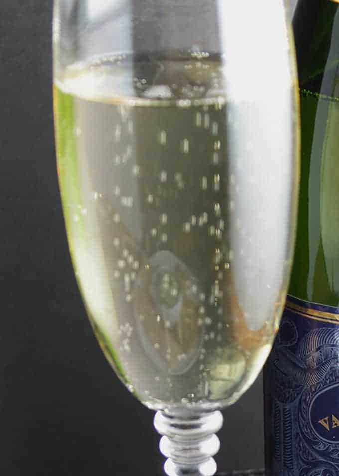 sparkling wine in a glass