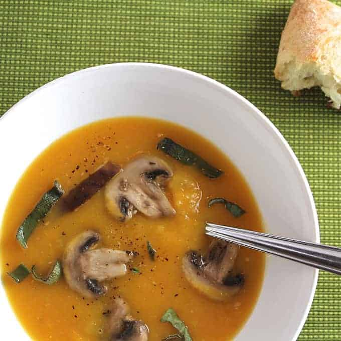 butternut squash soup with mushrooms and sage
