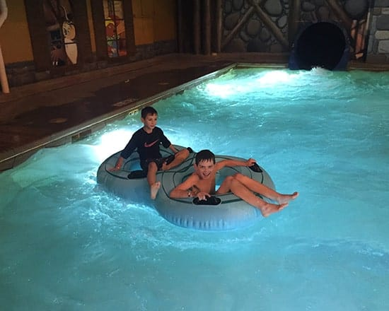 finishing up a water slide run at Great Wolf Lodge.