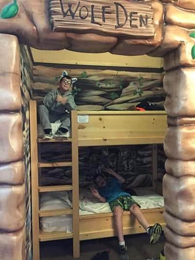 wolf den in suite at Great Wolf Lodge.