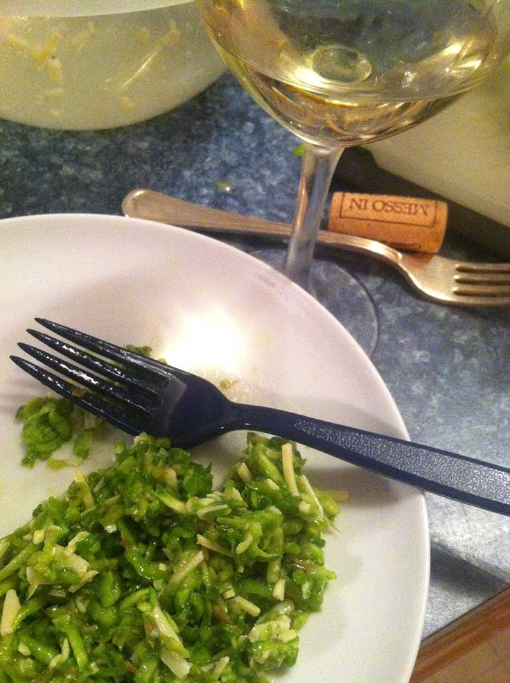 Grillo wine paired with raw asparagus salad and Parmesan dressing.