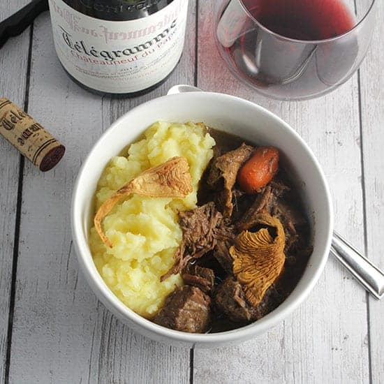 Chanterelle Beef Stew paired with Télégramme Châteauneuf-du-Pape