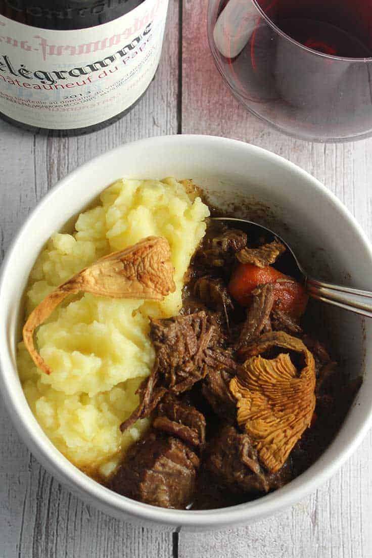Chanterelle mushrooms add delicious depth of flavor to slow cooked beef stew.
