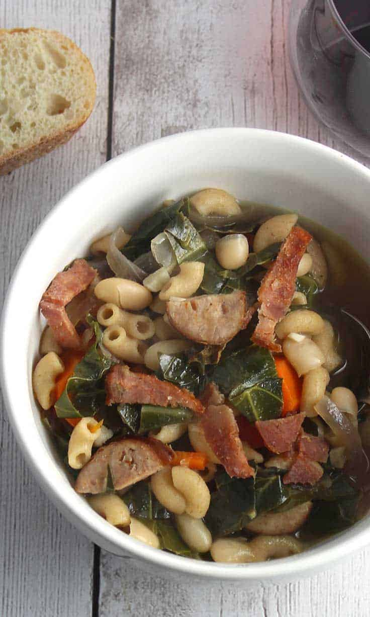 collard greens, chicken sausage, beans and turkey bacon provide healthy substance in this comforting soup recipe.
