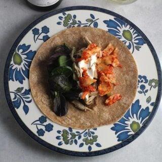 Kimchi Chicken Burritos