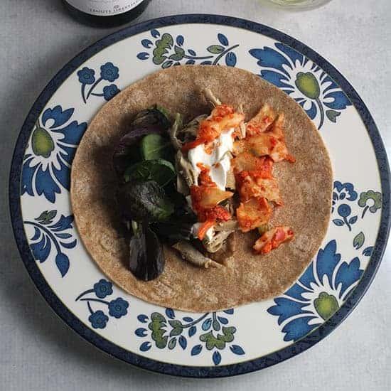kimchi chicken burritos recipe