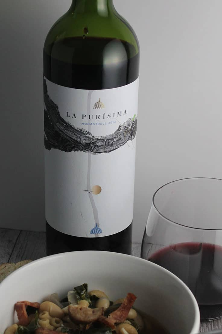 La Purisma Monastrell paired with Hearty Collard Green and Sausage Soup