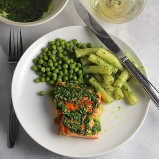 Salmon with Parsley Pesto and Peas #SundaySupper