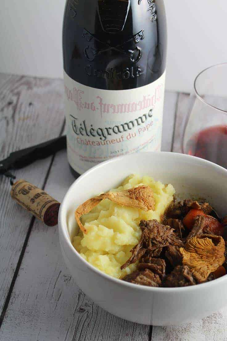 Télégramme Châteauneuf-du-Pape is an approachable and delicious wine, great with chanterelle beef stew.