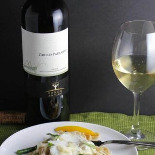 Linguine with Cod and Asparagus pairs well with Grillo, a white Sicilian wine.