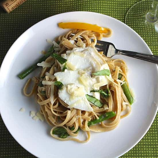 Grillo paired with linguine and asparagus dish.
