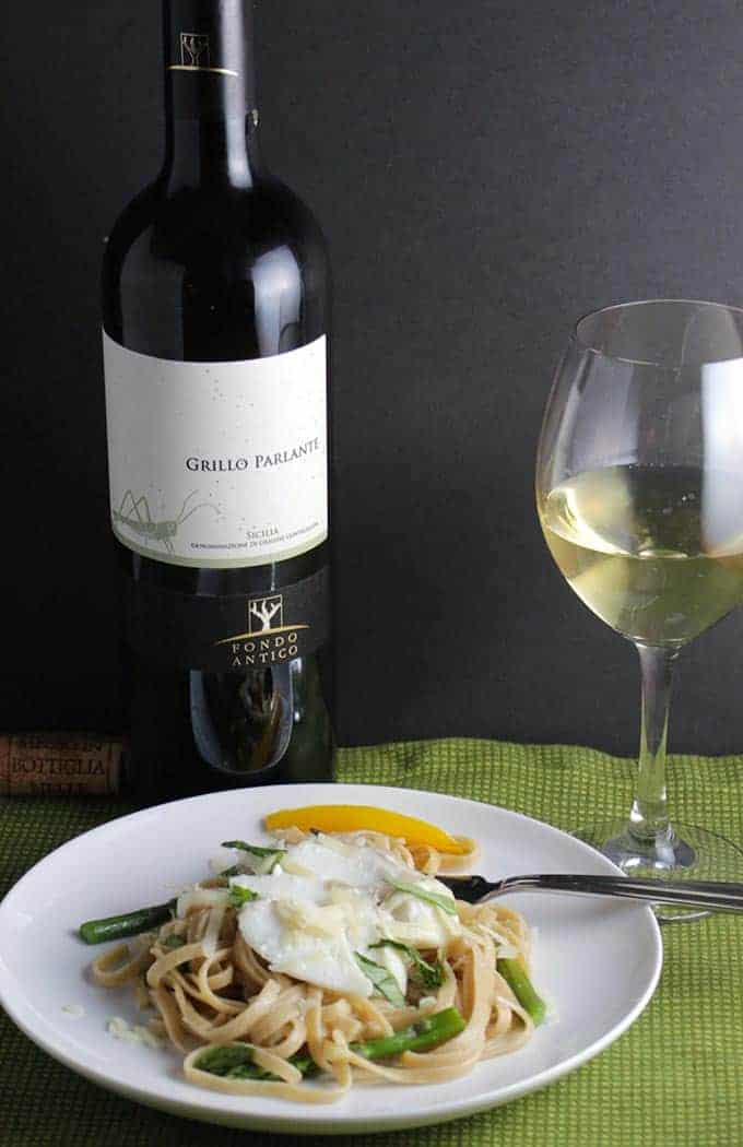 Grillo wine paired with Linguine with Cod and Asparagus is a Sicilian wine pairing that works!