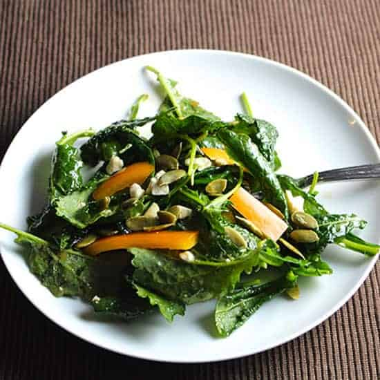 baby kale salad with maple vinaigrette, a Cooking Chat spring favorite.