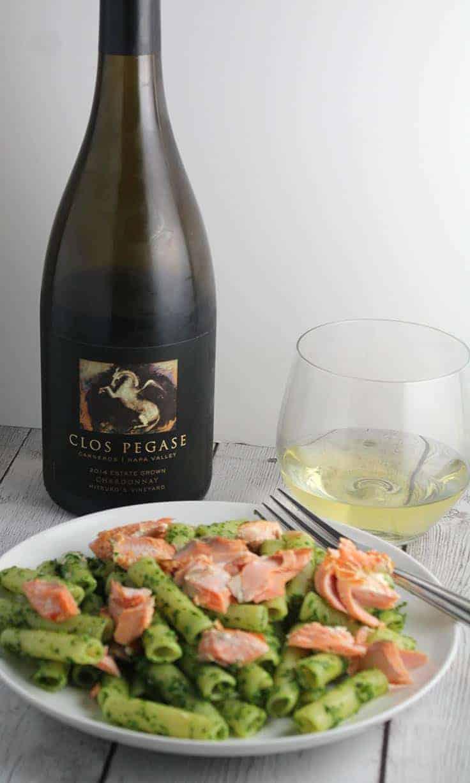 Clos Pegase Mitsuko's Vineyard Chardonnay pairs with with Ziti with Salmon and Kale Pesto.