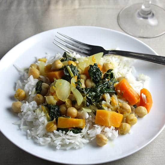 kale and butternut curry with Italian wine