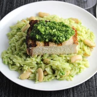 orzo with grilled swordfish and kale pesto.