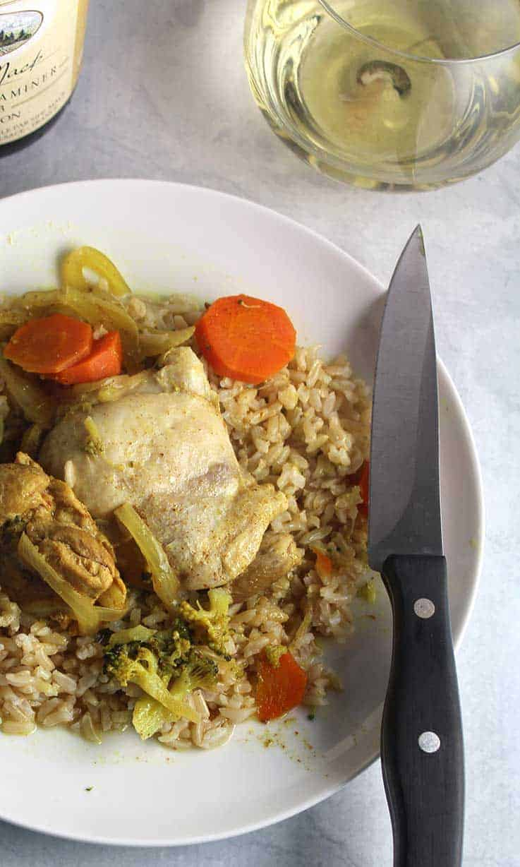 Curried Chicken Thighs recipe along with suggestions for wine to pair with curry.