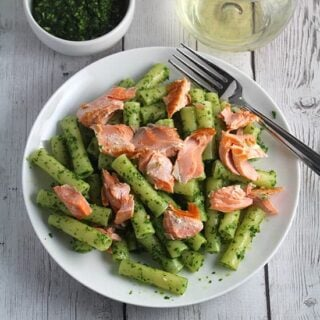 ziti with salmon and kale pesto