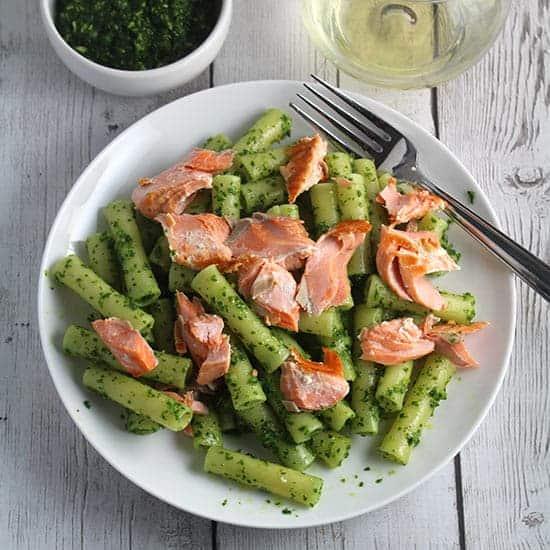 ziti with salmon and kale pesto