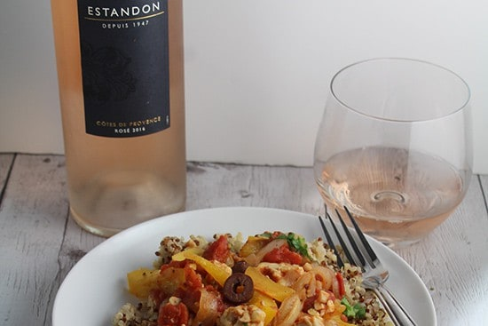 Estandon rose wine paired with tomato and tempeh skillet