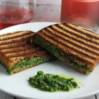 kale pesto grilled cheese with a rosé wine
