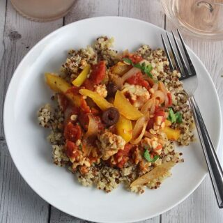 Tomato and Tempeh Skillet Over Quinoa