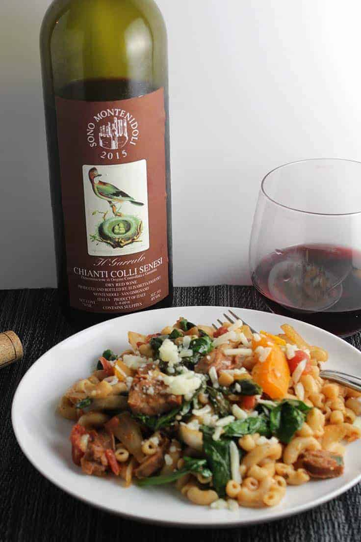 2015 Montenidoli Garrulo Chianti is a high quality wine, very good with Rustic Pasta with Chicken Sausage and Spinach recipe.