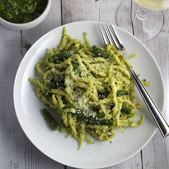 ligurian pesto pasta with a Pigato