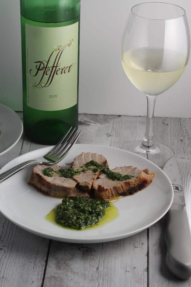 Moscato Giallo wine with grilled pork tenderloin.