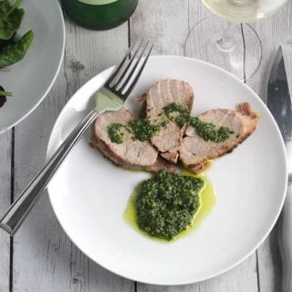 Grilled Pork Tenderloin with Cilantro Pesto #SundaySupper