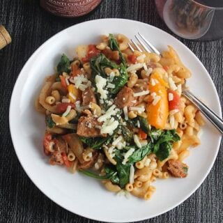 Rustic Pasta with Chicken Sausage and Spinach