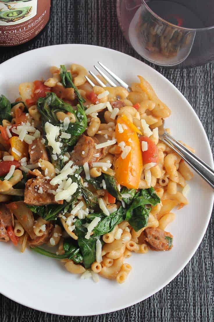 Rustic Pasta with Chicken Sausage and Spinach recipe, a hearty and healthy pasta meal.