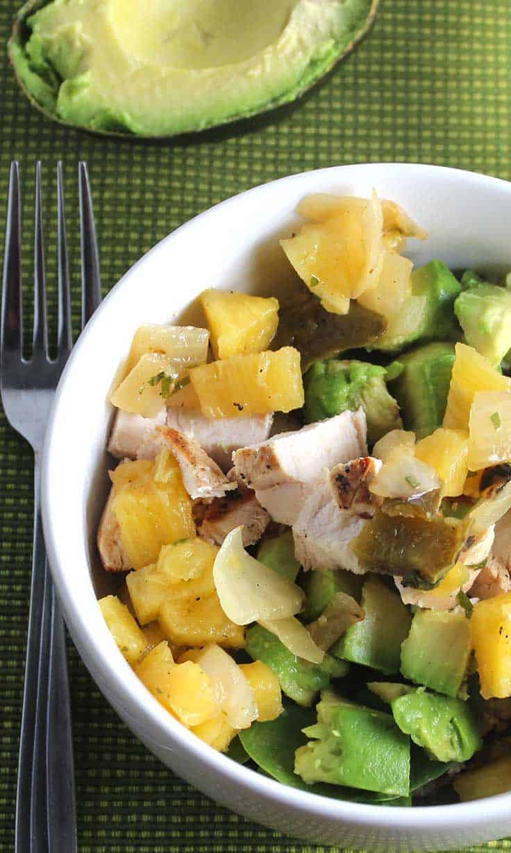 Avocado Chicken Bowl with Pineapple Salsa is an easy and healthy recipe bursting with flavor.