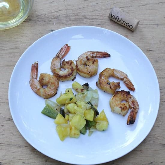 Grilled Shrimp with Pineapple Salsa paired with a Gual white wine.