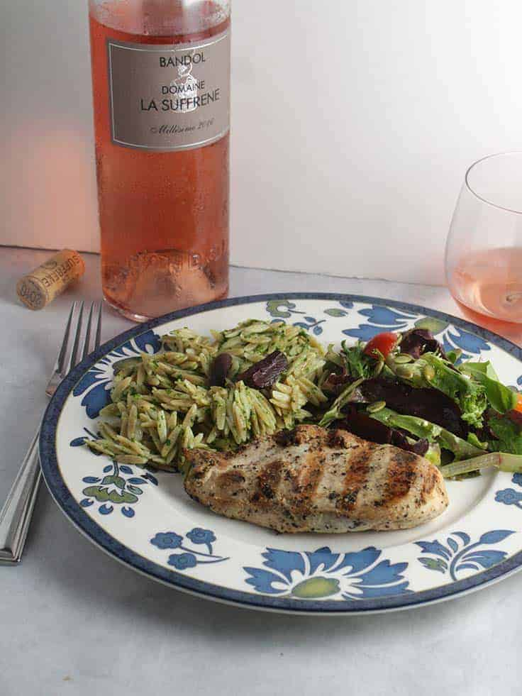 Domaine La Suffrene Bandol Rose pairs well with grilled chicken.