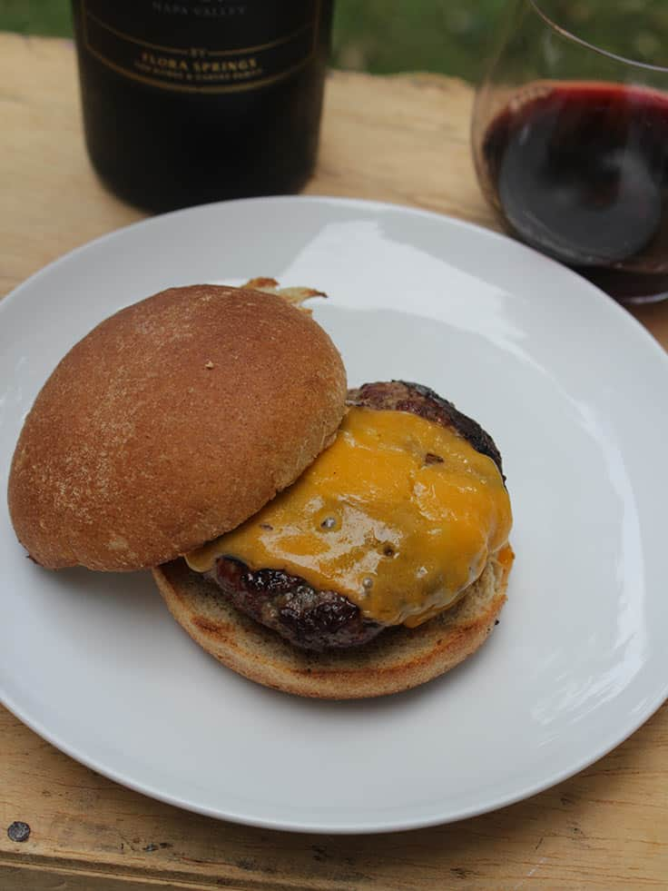 A simple burger paired with a special Cabernet can make for a wonderful summer meal!