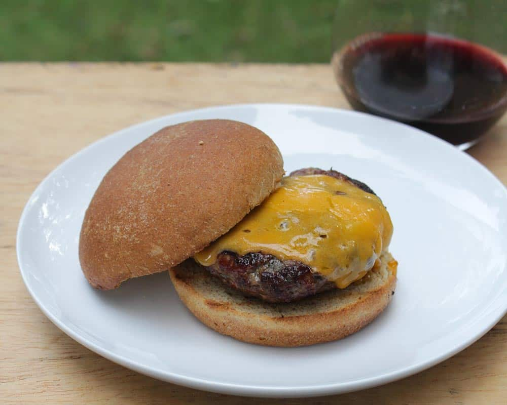 simple burger with a special Cab from Flora Springs in Napa.
