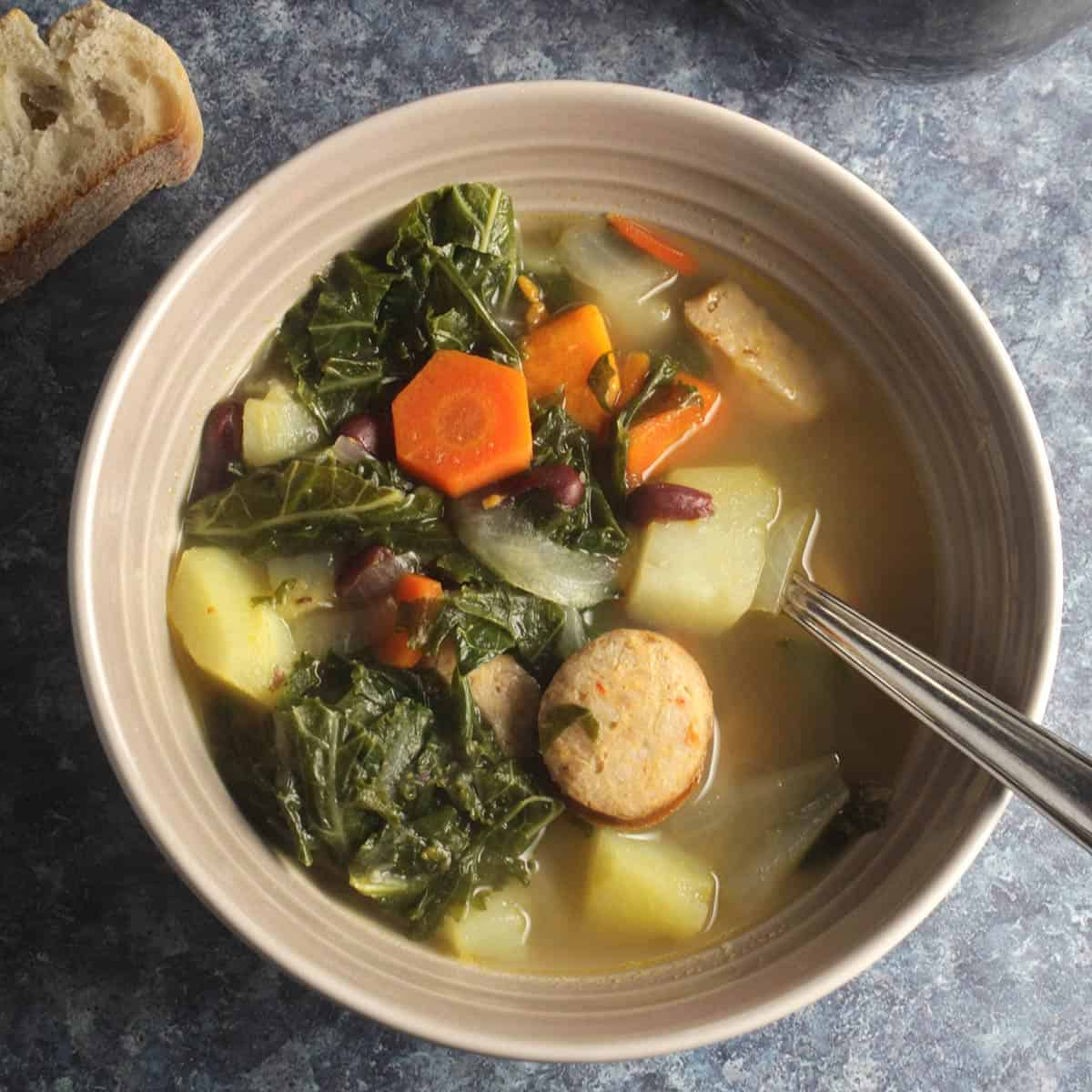 bowl of Portuguese kale soup