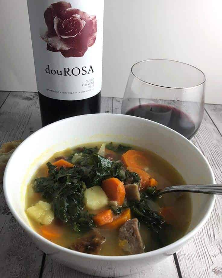 Portuguese kale soup with a red wine from Portugal.
