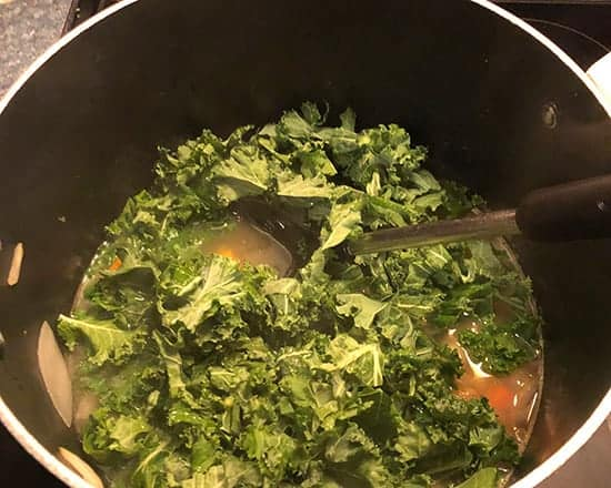 kale added to soup