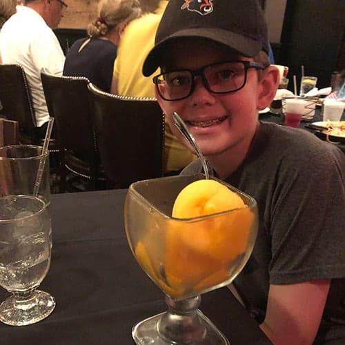 enjoying mango sorbet at Yarmouth House