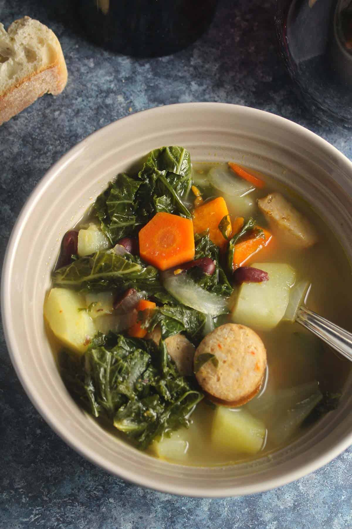 a bowl of Portuguese kale soup.