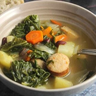 portuguese kale soup in a bowl