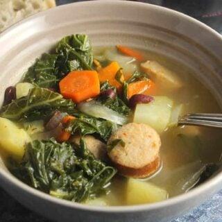 portuguese kale soup in a bowl