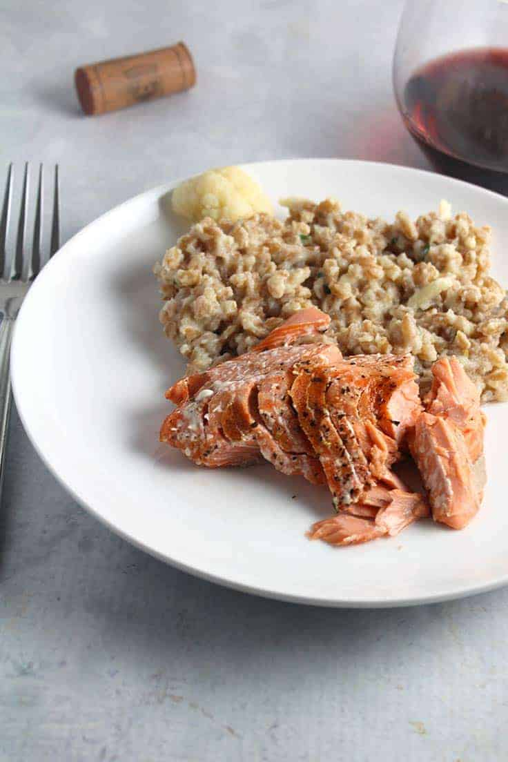 Salmon with Cream Cauliflower Farro for a healthy and delicious #SundaySupper! #cauliflower #salmon