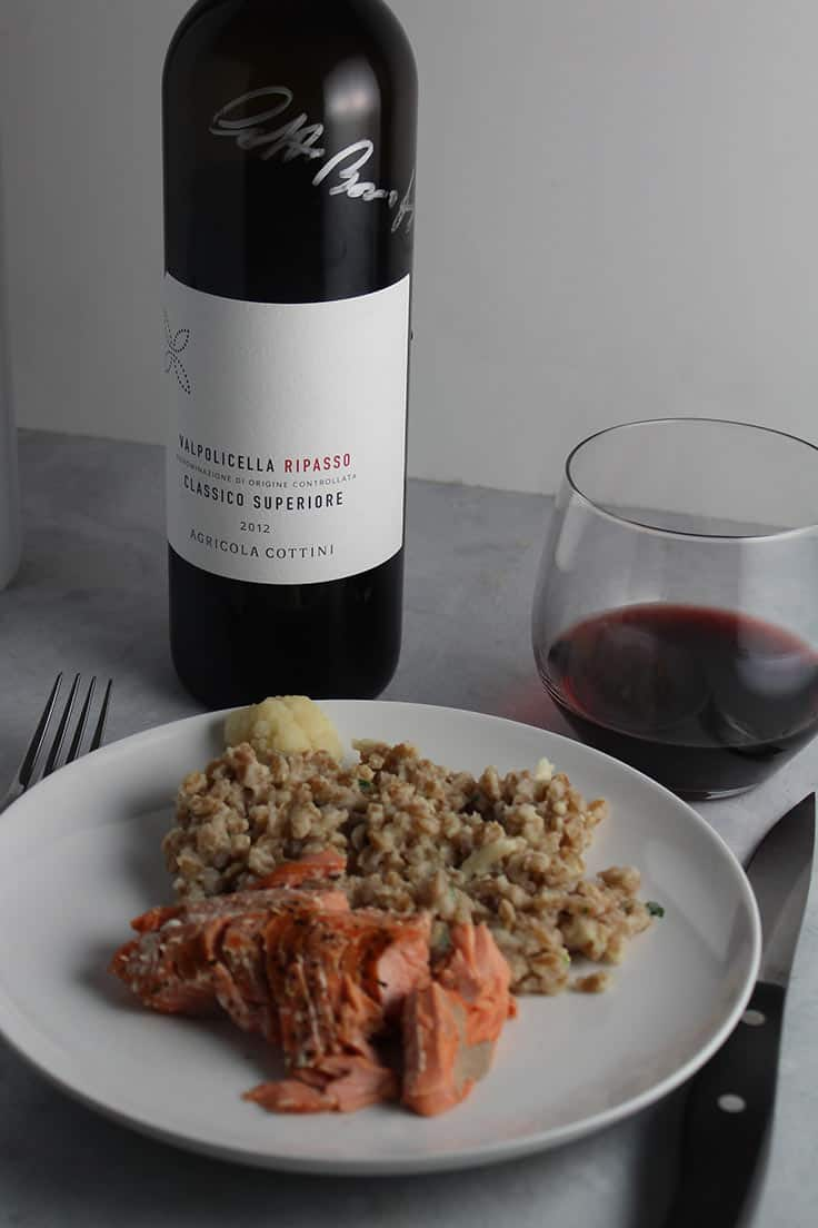 A Valpolicella paired with Salmon with Creamy Cauliflower Farr. #winepairing