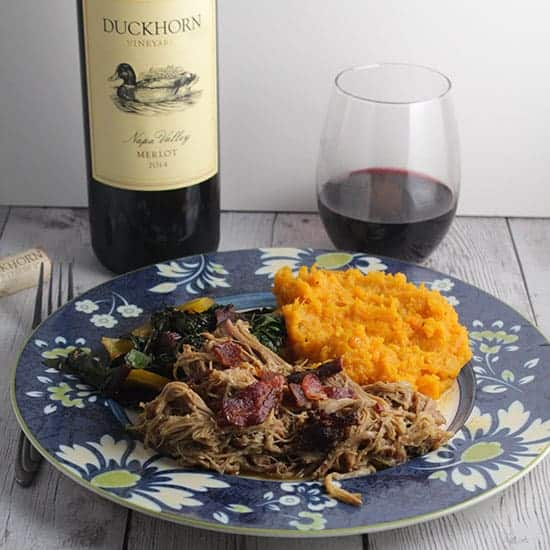Duckhorn Merlot paired with Pulled Pork and Bacon.