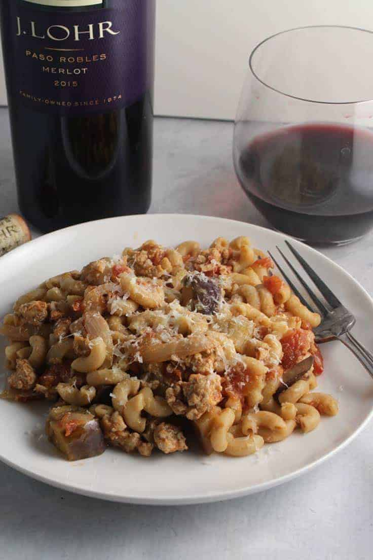 J. Lohr Merlot is a very good wine value, and pairs well with tomato and eggplant pasta. #Merlot #winepairing