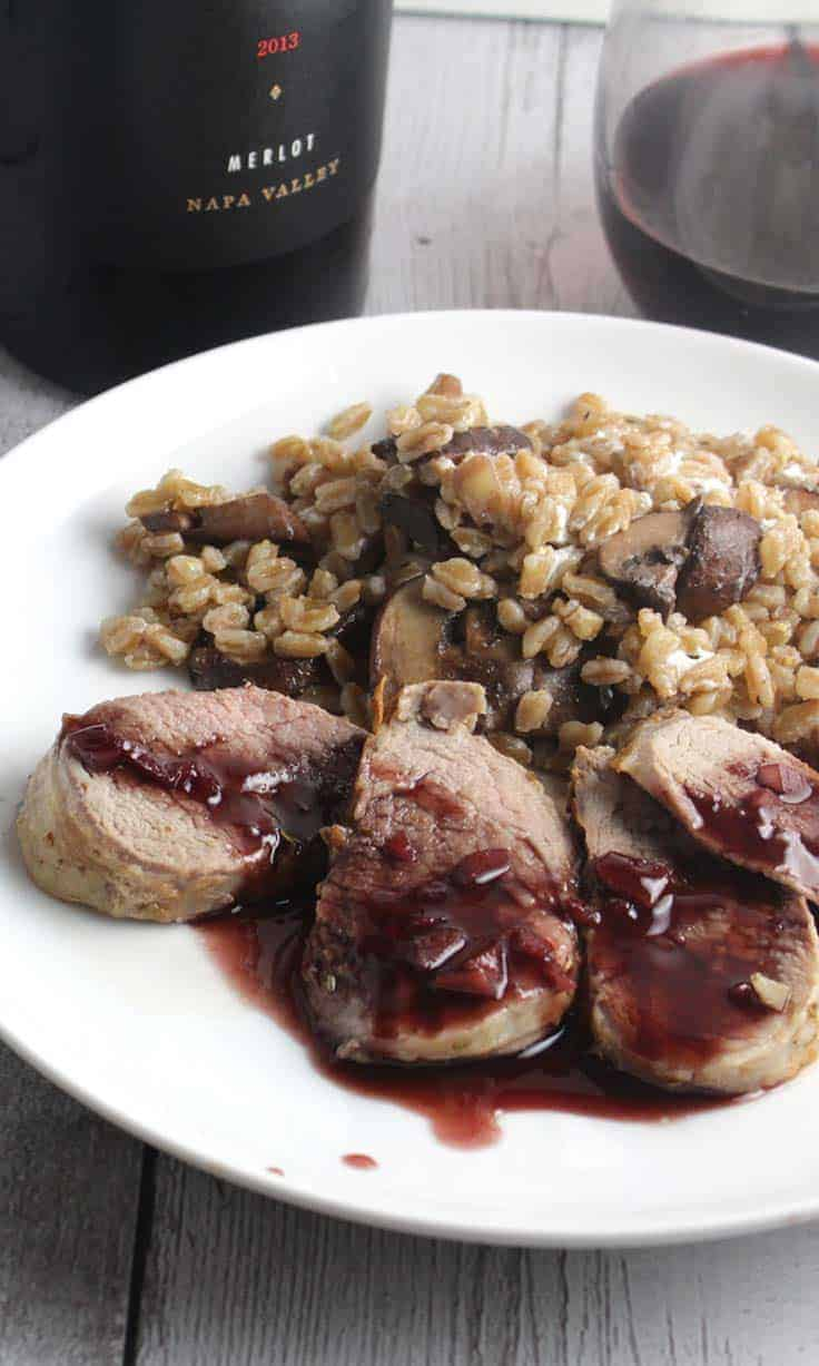 Pork Tenderloin with Blackberry Merlot Sauce is a delicious and elegant meal. #pork #gourmet #Merlot #winepairing