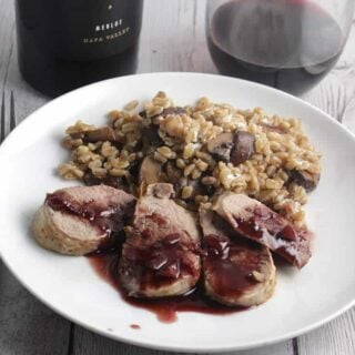 Pork tenderloin with blackberry merlot sauce. #winePW